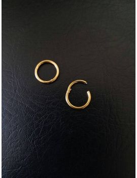 """16g-18g-5_16""""-(8mm)-small-gold-titanium-anodized-316l-steel-seamless-segment-hinged-ring-hoop-eyebrow-septum-clicker-nose-smiley-helix-lip by etsy"""