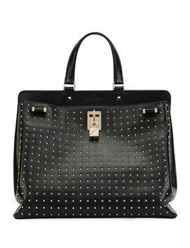 joy-lock-rockstud-vitello-handbag,-black by valentino-garavani