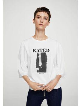 Принтованная-футболка-с-надписью by mango