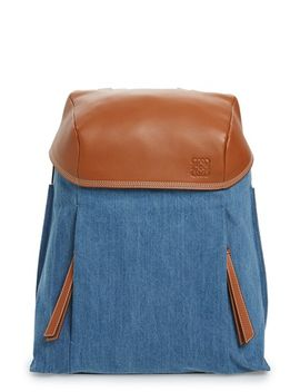 t-small-denim-&-leather-backpack by loewe