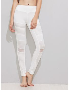 mesh-insert-pleated-stitch-detail-leggings by sheinside