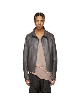 grey-leather-molinos-biker-jacket by rick-owens