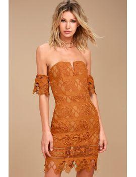 joa-kyler-burnt-orange-lace-off-the-shoulder-dress by joa