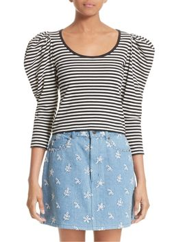stripe-cotton-puff-sleeve-top by marc-jacobs