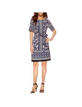 danny-&-nicole-short-sleeve-shift-dress-petite by danny-&-nicole