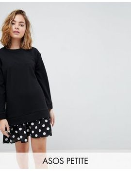 asos-petite-2-in-1-dress-with-pleated-spot-hem by asos-petite