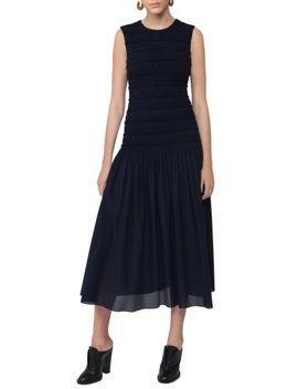smocked-bodice-midi-dress by akris-punto