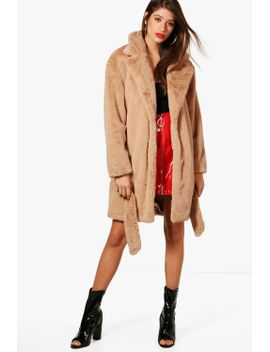 emily-boutique-belted-faux-fur-coat by boohoo
