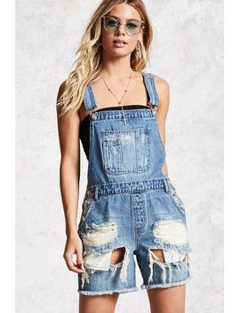 distressed-denim-dungarees-shorts by forever-21