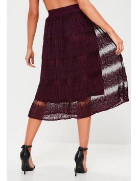 burgundy-lace-pleated-midi-skirt by missguided
