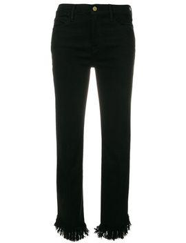 frayed-hem-cropped-jeans by frame-denim