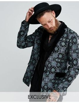 reclaimed-vintage-inspired-tapestry-blazer-with-velvet-lapel by reclaimed-vintage