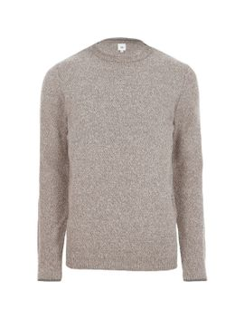 stone-textured-knit-slim-fit-crew-neck-jumper by river-island