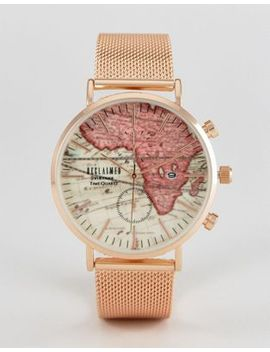 reclaimed-vintage-inspired-map-mesh-watch-in-rose-gold-exclusive-to-asos by reclaimed-vintage