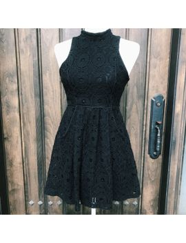 uo-mini-black-lace-high-neck-mini-dress by urban-outfitters