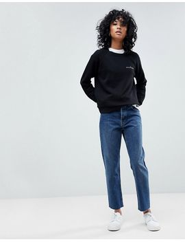 asos-design-florence-authentic-straight-leg-high-waisted-jeans-in-dark-stone-wash-with-raw-hem-detail by asos-collection