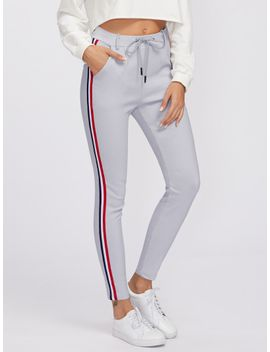 striped-tape-side-drawstring-waist-sweatpants by romwe