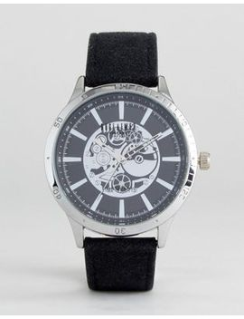 reclaimed-vintage-inspired-exposed-mechanics-leather-watch-in-black by reclaimed-vintage