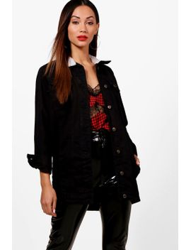 petite-becca-borg-collar-longline-denim-jacket by boohoo