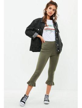 khaki-frill-hem-leggings by missguided