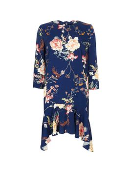 blue-floral-curved-frill-hem-swing-dress by river-island
