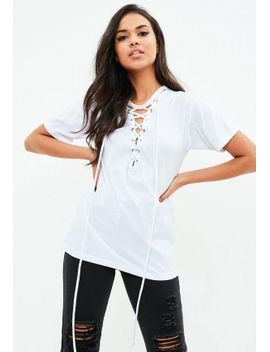 white-lace-up-front-burnout-t-shirt by missguided