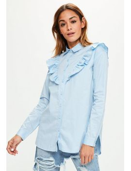 blue-frill-detail-cotton-shirt by missguided
