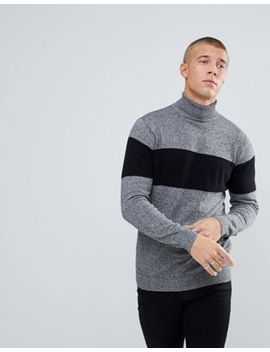 river-island-roll-neck-sweater-with-stripe-in-gray by river-island