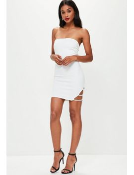 white-bandeau-side-strap-mini-dress by missguided
