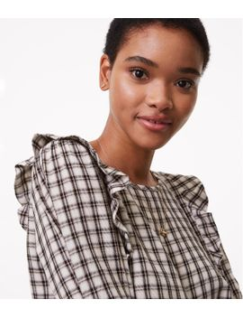 plaid-ruffle-blouse by loft