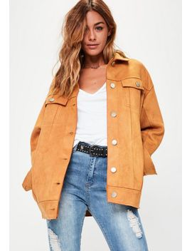 tan-oversized-bonded-suedette-trucker-jacket by missguided