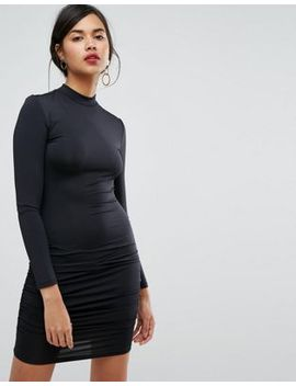 ivyrevel-long-sleeve-high-neck-mini-bodycon-dress by ivyrevel