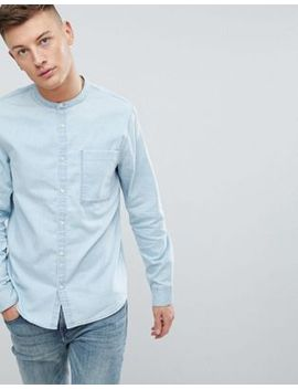 new-look-denim-shirt-with-grandad-collar-in-bleach-wash-blue by new-look