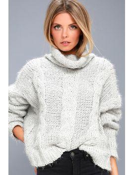 cozy-down-light-grey-knit-turtleneck-sweater by lulus