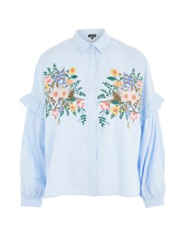 floral-embroidered-shirt by topshop