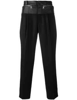 mixed-material-trousers by juunj