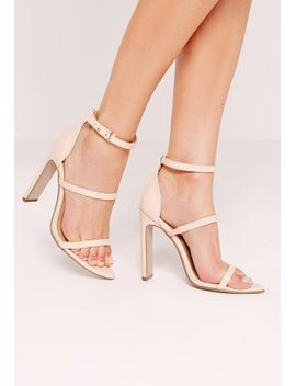 nude-pointed-toe-three-strap-barely-there-heels by missguided