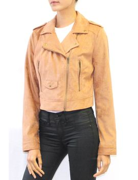 Faux Suede Moto Jacket (Tan Or Mauve) by Highway Jeans