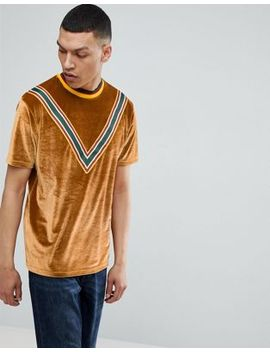 asos-relaxed-t-shirt-in-velour-with-retro-taping-in-tan by asos