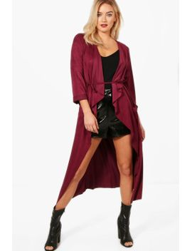 bella-suedette-belted-duster by boohoo