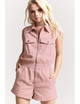 twill-zip-front-cargo-romper by forever-21
