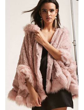 faux-fur-hooded-poncho-jacket by forever-21