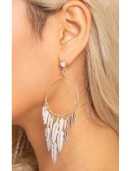 feather-dangle-hoop-earrings by prettylittlething