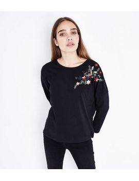 black-floral-sequin-embroidered-long-sleeve-t-shirt by new-look