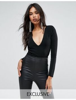 missguided-shoulder-pad-plunge-neck-slinky-bodysuit by missguided