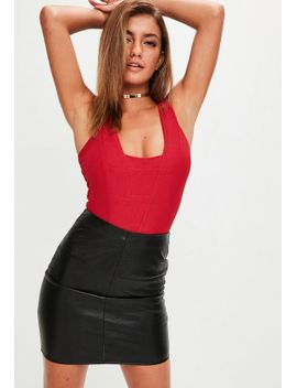 red-v-front-bandage-bodysuit by missguided