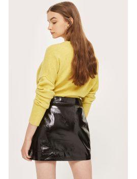 cracked-vinyl-zip-mini-skirt by topshop