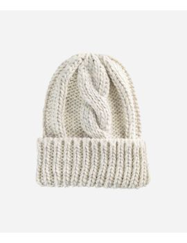 Womens Cable Knit Beanie With Metallic Yarn And Cuff by San Diego Hat