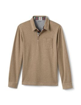 mens-flannel-trimmed-polo by lands-end