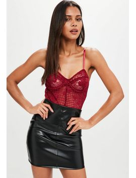 burgundy-lace-underwired-bodysuit by missguided